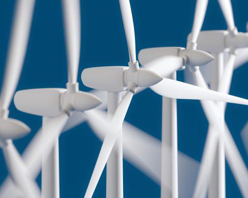 Wind Generators On Blue Background (Windmill)
